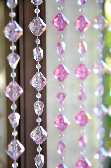 Pink Gemstone Shape Beaded Curtain 8 Feet That