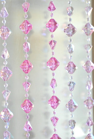 Pink Gemstone Shape Beaded Curtain -- 8 Feet