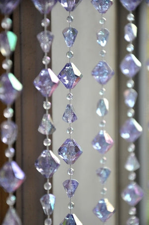 Lavender Gemstone Shape Beaded Curtain -- 8 Feet