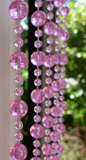 6' Long Beaded Curtain --  Random Pink Mini Balls