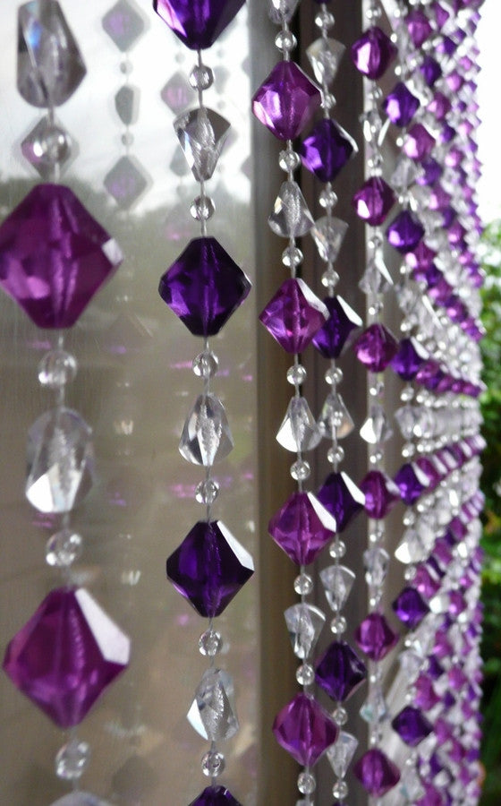 Multi Purple Gemstone Shape Beaded Curtain -- 8 Feet Long