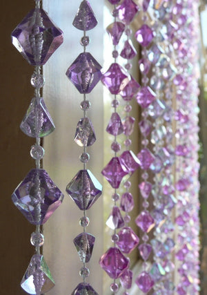 Violet and Lavender Gemstone Shape Beaded Curtain -- 8 Feet