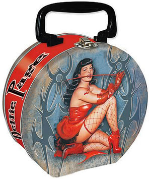 Bettie Page Tin Round Tote -- Devil  Whip
