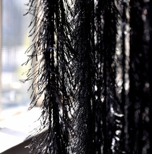 8.25' Long Black Fringe Feather Like String Curtain