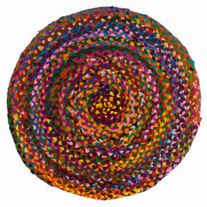 Bohemian Round Braided Rug -- 23 Inches in diameter