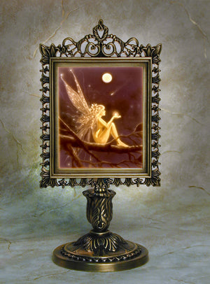Porcelain Lithophane Mermaid & Mirror Victorian Style Lamp -- Color