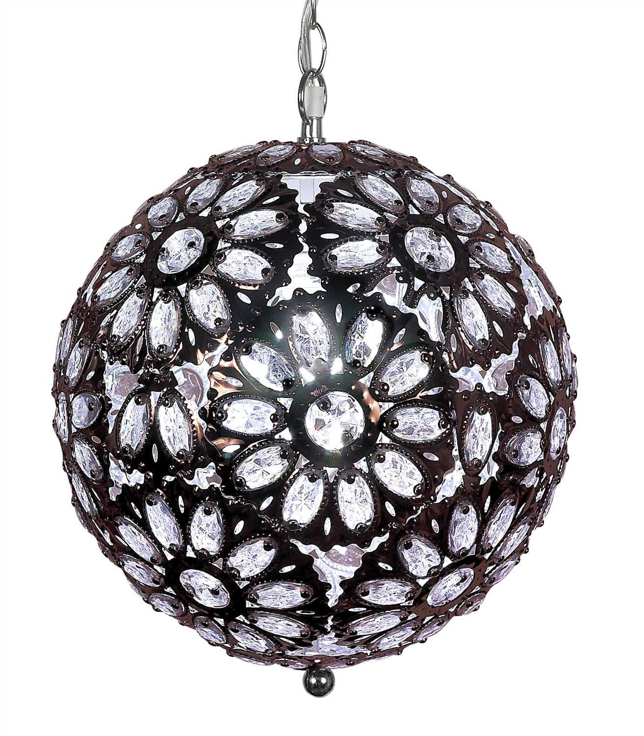 Clear Beaded Bohemian Jeweled Lamp 14 Inches That