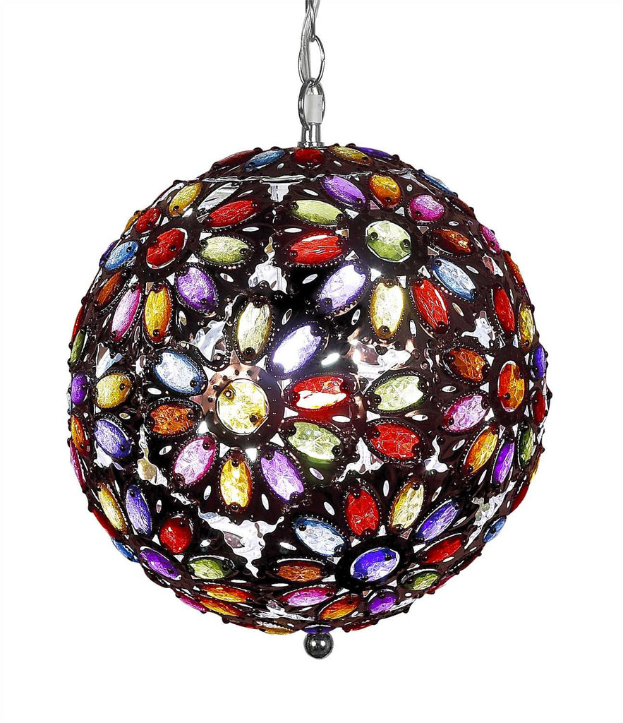 Multi Colored Bohemian Jeweled Beaded Lamp 14 Inches