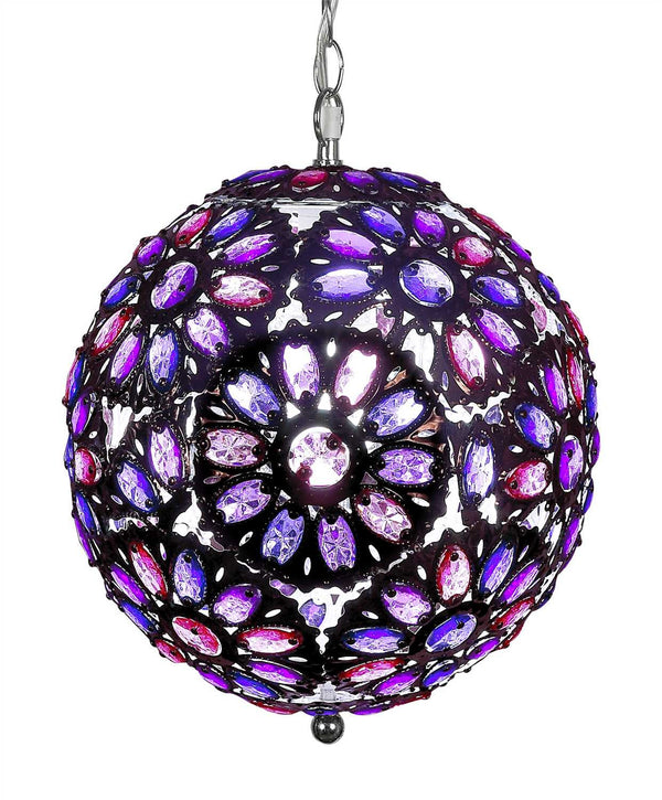 Pink & Purple Jeweled Beaded Lamp -- 14 Inches