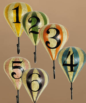 Large Hot Air Balloon Wall Hooks -- Set of 6 -- Vintage Style