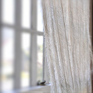 Ivory Fringe Feather Like Curtain -- 8 Feet Long