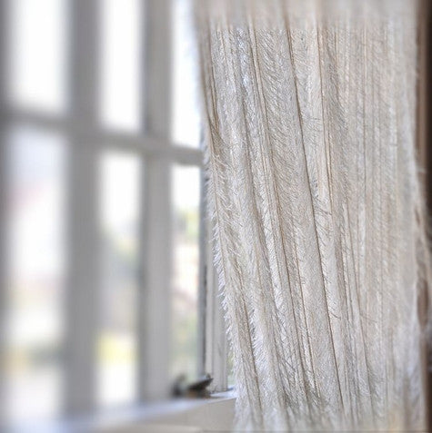 7.5' Ivory Fringe Feather Like Curtain