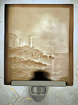 Lighthouse Porcelain Lithophane Night Light -- Flat