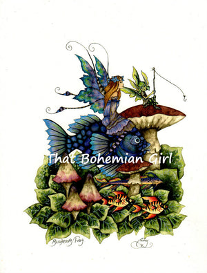 Amy Brown Mushroom Fish Fairy Print --  Out of Print