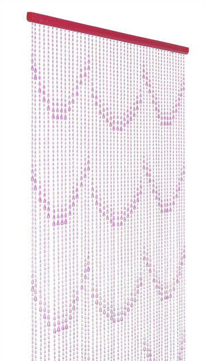 Iridescent Pink Raindrop Beaded Curtain