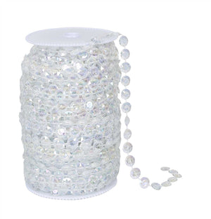 Iridescent Clear Beads on Spool -- Small Diamond Cut