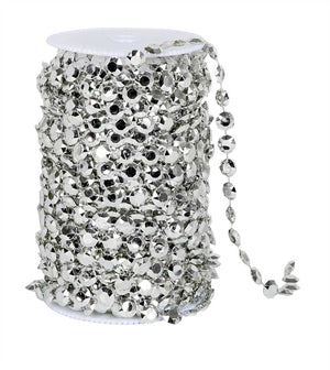 Silver Beads on Spool -- Small Diamond Cut