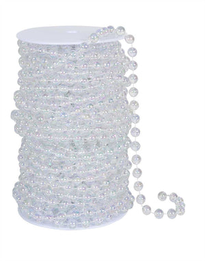 10mm Iridescent Clear Round Beads on a Spool, 66 Feet