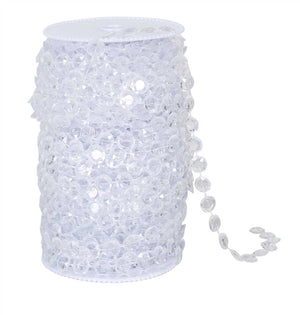 Clear Beads on Spool -- Small Diamond Cut