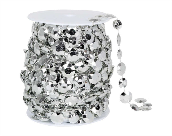Silver Bead Spool -- Large Diamond Cut
