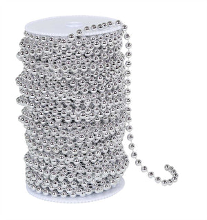 99 Feet Metallic Silver Beads on Spool -- Round Balls