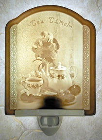 Tea Time Porcelain Lithophane Night Light -- Flat