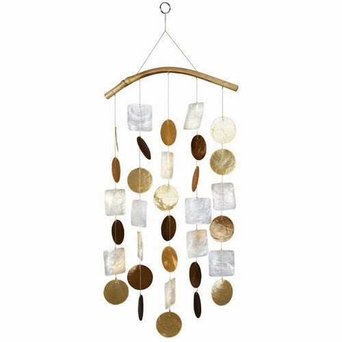 Capiz Shell Windchime -- Goldish White and Brown with Bamboo Branch