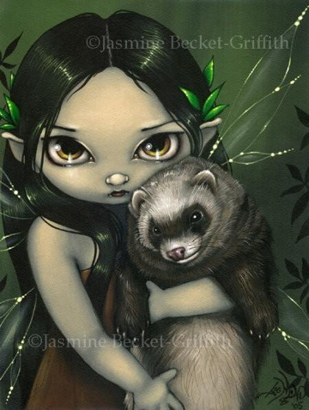 Jasmine Becket Griffith A Ferret and his Fairy Print
