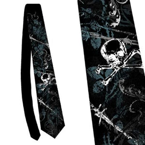 Alchemy Gothic Barbed Romance Skull + Crossbones Tie