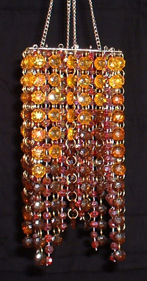 Hand Beaded Chandelier -- Amber & Brown -- 20 Inches Long