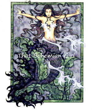 Amy Brown Obsidian Mermaid Note Card