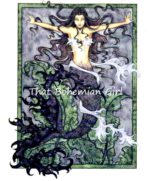 Amy Brown Obsidian Mermaid Print -- Out of Print