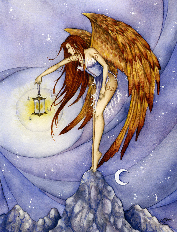 Amy Brown Lighting the Way Angel Greeting Card