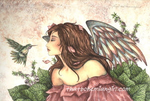 Amy Brown Angel & Hummingbird Print -- Limited Edition