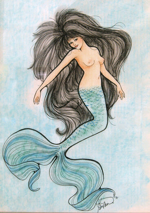 Karen Bagnard Aquamarine Mermaid Greeting Card
