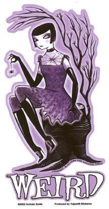 Archaic Smile Weird Purple Gothic Girl Sticker
