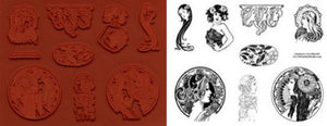 8 Art Nouveau Unmounted Rubber Stamps Set