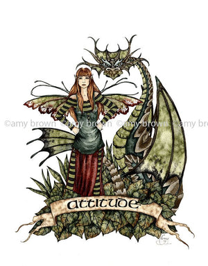 Amy Brown Attitude Fairy + Dragon Greeting Card