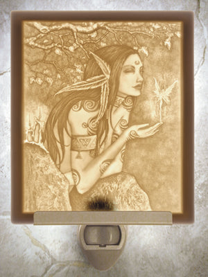 Amy Brown Autumn Magic Fairy Porcelain Lithophane Night Light -- Flat