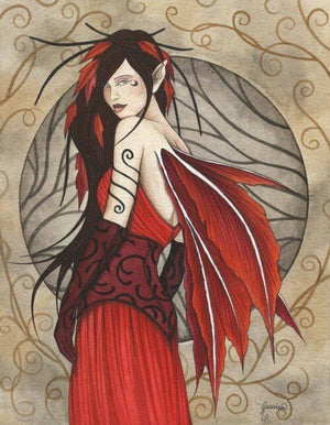 Jessica Galbreth Ceramic Tile Art -- Autumn Splendor Fairy