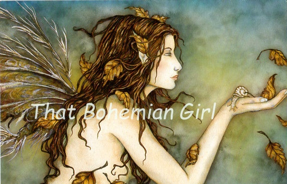 Amy Brown Autumn Whispers Fairy + Snail Note Card