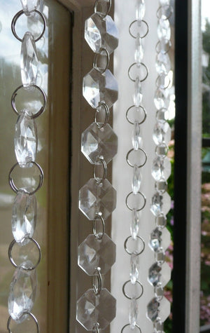 Clear Octagon Hand Beaded Curtain -- 12 Inches Wide