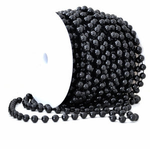 66 Feet of 6mm Black Round Beads on Spool