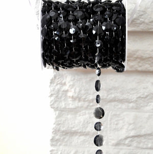 Smokey Black  Bead Spool -- Large Diamond Cut