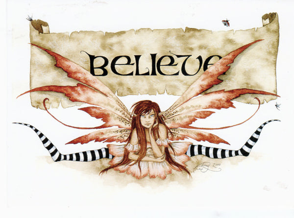 Amy Brown Believe Fairy Note Card