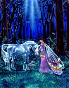 Susan Dawe Beneath the Faerie Moon Unicorn Greeting Card