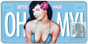 Bettie Page Oh My License Plate by Dark Horse Comics