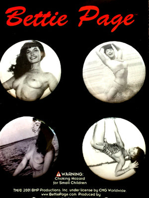 Bettie Page Black and White Pin Set