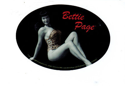 Bettie Page Horizontal Oval Large Leopard Bathing Suit Sticker Decal