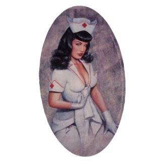 Bettie Page Oval Nurse Large Sticker